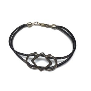 Jewelry - Black leather sterling silver accent bracelet